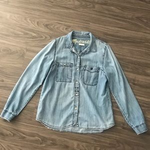 Madewell Distressed Chambray Long Sleeve sz M